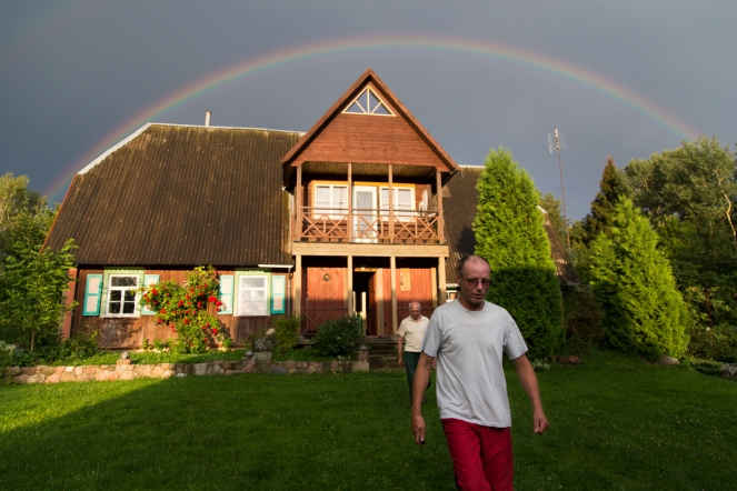 Marius Kalade, 52, and Julius Kalade, 78, walk outside to view the rainbow over my grandfather's house. My father has been living with my grandfather for almost 6 years. It wasn't until last January that my mother told me my father had attempted suicide 11 years ago by setting himself on fire and trying to drive his car off a bridge. For the first time in 10 years, I returned to Lithuania last summer to reconnect with my family. Reports from the World Health Organization show that Lithuania has the highest suicide rate in the world; 34 of every 100,000 people in Lithuania commit suicide.